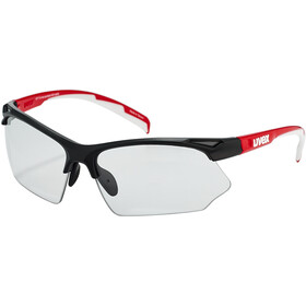 UVEX Sportstyle 802 V Briller, black red white/smoke